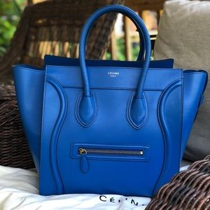 Celine Palmelato Mini Luggage Electric Blue